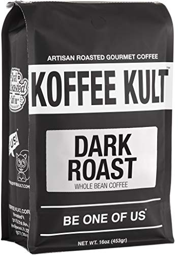 Koffee Kult DARK ROAST COFFEE (16oz) Highest Quality Delicious Specialty Grade Whole Bean Coffee -...