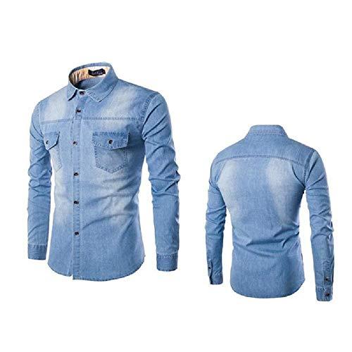nobrand Camicia in Denim da Uomo Manica Lunga Plus Size Jeans in Cotone Cardigan Camicie Casual Slim Fit