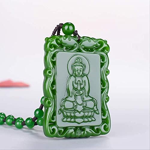 ZYLZL Collar de tallado a mano con colgante de Guanyin de jade verde, amuleto de moda, regalos de suerte, cadena de suéter para hombres