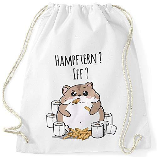 MoonWorks® Turnbeutel Hamster Virus 2020 Hamsterkäufe Klopapier Nudeln Parodie Satire Gymbag weiß Unisize