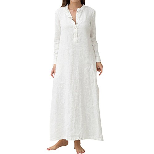 Plain Maxi Long Dress Women's Kaftan Cotton Long Sleeve Casaul Oversized Dress White