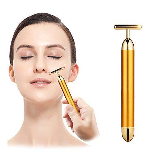 RYLAN 24K Gold Energy Beauty Bar Electric Vibration Facial Massage Roller Waterproof Face Skin Care Anti Wrinkle Massager for Forehead Cheek Neck Arm Leg, Facial Massager Machine, Facial Massager.