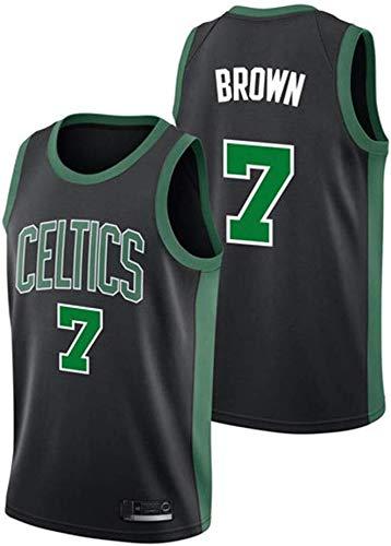ASSD NBA Boston Celtics Herren Trikot 7# Braun bestickt Mesh Basketball Swingman Jersey (Farbe: Schwarz, Größe: XL)