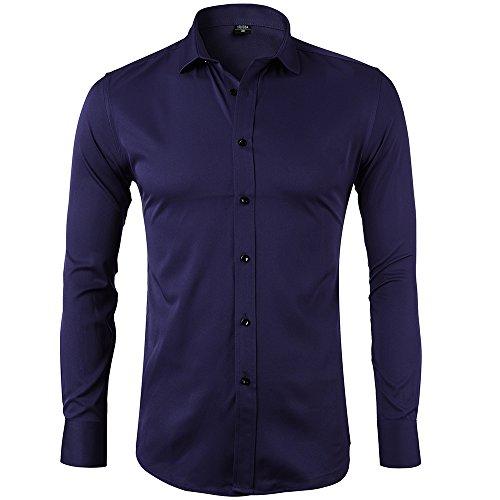 Camisa Bambú Fibra Hombre, Manga Larga, Slim Fit, Camisa Elástica Casual/Formal para Hombre, Marino Lunares 2, 38 (Cuello 38CM, Manga 81CM)