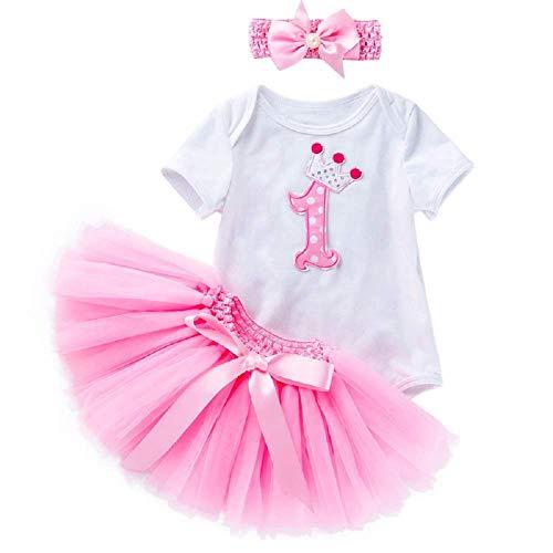 KIRALOVE Primera cumpleañera - Falda con Cuerpo de Tul - tutú - Banda para el Pelo con Lazo - Traje - Atuendo - Bailarina - niña - niño - Rosa