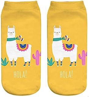 Calcetines 5 Pares de nuevos Dibujos Animados Lindo Cactus Alpaca 3D impresión Digital Calcetines Calcetines de Mujer y niña 20 cm de algodón cómodos Calcetines Casuales AMARILL