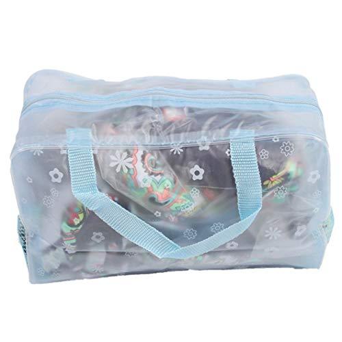 DJSNH Sacs Floraux Transparents de Sac de Toilette de Maquillage d'organisateur de Maquillage Floral de PVC de Sac de Poche S4N0H8 (Couleur : Bleu)