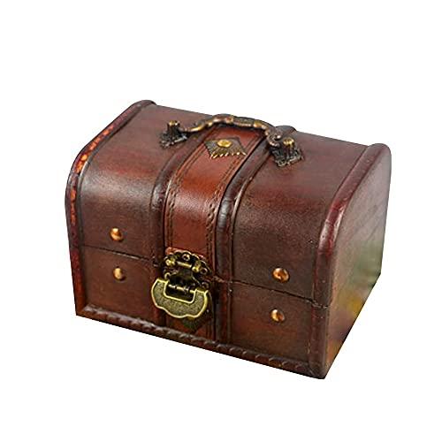 ZAKRLYB Piggy Bank Adulto Candado de madera Retro Caja de madera Monedas de almacenamiento Cambio pequeño Artículos Pequeños artículos de escritorio Recolección y organización del autocontrol de los n