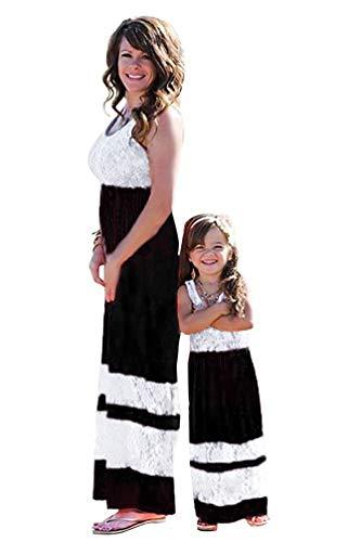 Tomsent Senza Maniche Vita Alta Vestito Per Madre e Figlia Vestire Casual Genitore-Bambino Famiglia Stampa Abito da Partito Cocktail Nero 130 (Ragazza)