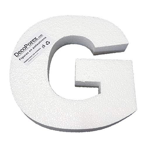 DecoPorex Lettera G di 200 mm di Altezza x 30 mm di Spessore in polistirolo espanso Non Verniciato.