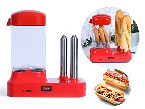 Hot Dog Maker para 6 salchichas, máquina de perritos calientes con recipiente de calor extraíble, calentador de salchichas con pinchos de acero inoxidable para calentar panecillos