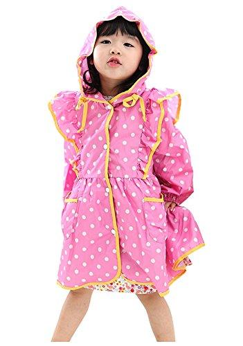 coréen Baby-girls Robe de princesse pluie Mode enfants pluie Rose Dot S