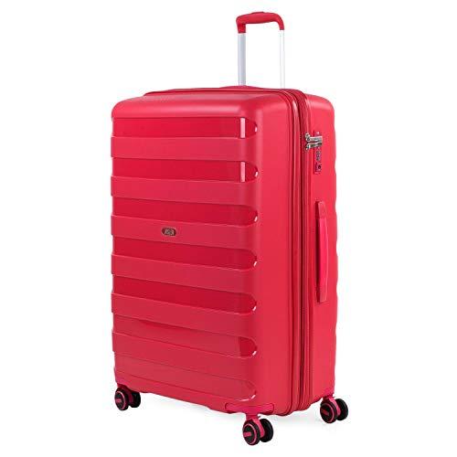 JASLEN - Maleta de Viaje Grande Trolley Marca jaslen tamaño 70 Fabricadas con Polipropileno, un Material y a la Vez candado TSA 4 Ruedas Dobles 161270, Color Rojo