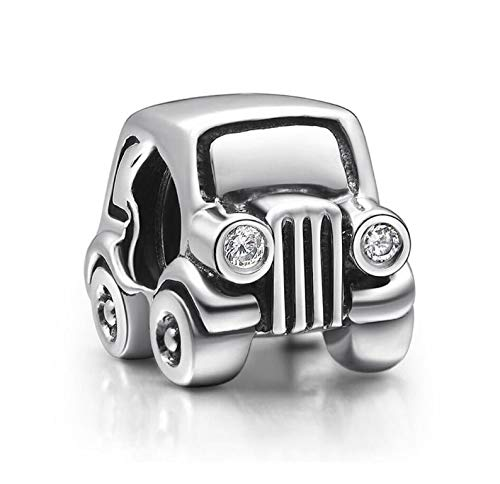 Bolenvi Jeep Car 925 Sterling Silver Charm Bead for Pandora & Similar Charm Bracelets or Necklaces