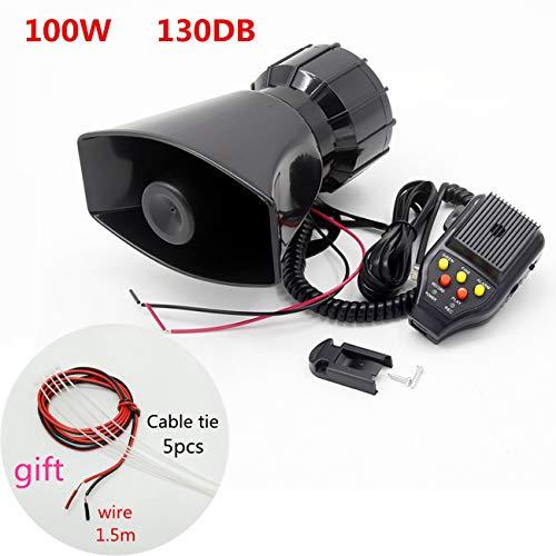 YIYIDA Sirena de coche Sirena policial 100 W 130 dB con sistema de altavoces Mic PA La función de grabación de sirena es adecuada para cualquier camión de vehículo de 12V barco auto móvil etc.