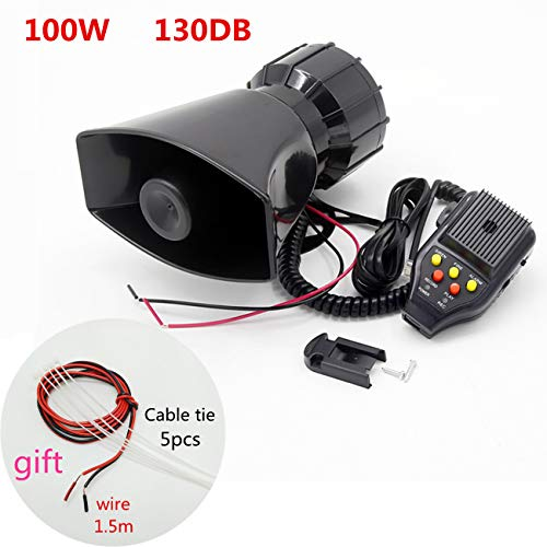 YIYIDA Auto-sirene lautsprecher autohupe 100 W 130DB auto sirene fahrzeug hupe mit mikrofon PA lautsprechersystem notverstärker alarmtrompete aufnahmefunktion für jedes 12V fahrzeug LKW boot car etc