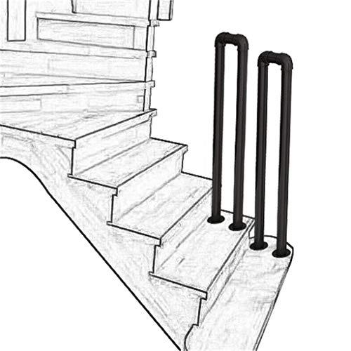 Barandilla Escalera Pasamanos para escalones de Porche con Kit de instalación Postes de Soporte de Seguridad para niños Tubo galvanizado en Forma de U Hierro Forjado Negro Mate