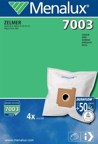 Menalux 7003, 4 Sacchetti per aspirapolveri Hanseatic, Fakir, Zelmer, Rotel, Quigg, Condell e Bestron
