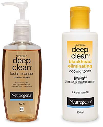Neutrogena Deep Clean Facial Cleanser, 200ml And Neutrogena Deep Clean Blackhead Eliminating Cooling Toner, 200ml