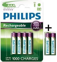Philips Lot de 6 piles rechargeables AAA HR03 1,2 V 700 mAh
