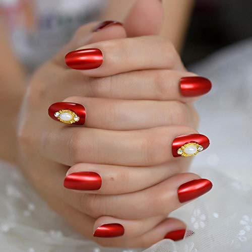 Classique Perle Court Nail Art Conseils Métal Rouge Élégant Tête Ronde Faux Ongles Conception Couvre Tous Les Ongles