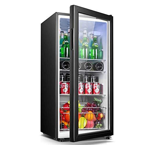 Taoke Beverage Cooler, Piccolo congelatore, 42dB, 32-59 Gradi;F congelamento Compressore, Illuminazione a LED, Porta di Vetro Black Frame - Living Room, Mini Bar Frigorifero, 120 L, 120L 8bayfa
