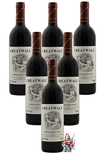 yoaxia ® - 6er Pack - GREATWALL Chinesischer Rotwein Trocken 12,5% vol. CHINESE RED WINE DRY + ein kleines Glückspüppchen - Holzpüppchen