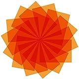 9 Pack Gel Filter Colored Overlays Correction Gel Light Filter Transparent Color Film Plastic Sheets, 11.7 by 8.3 Inches (Orange)