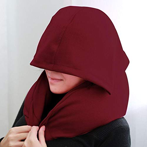 Neck Pillow, Comfortable Hooded Neck Travel Pillow for Women and Men, U Shape Airplane Car Pillow with Hoodie (Red)
