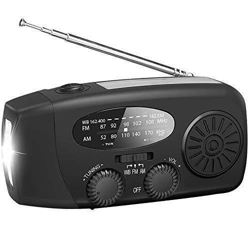 LPWCAWL Radio De Emergencia, Radio Multifunción Solar Am/FM/WB, Radio De Manivela Portátil con Banco De Energía De 600mAh, Linterna LED, Adecuada para El Hogar y Exterior