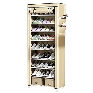 UDEAR Zapato del gabinete Zapatero de Tela 10 Niveles Zapateros y hormas para Zapatos Beige