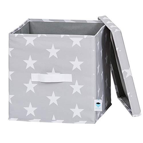 LOVE !T STORE !T 670858 - Caja organizadora con tapa (poliéster, 30 x 30 x 30 cm), diseño de estrellas, color gris claro