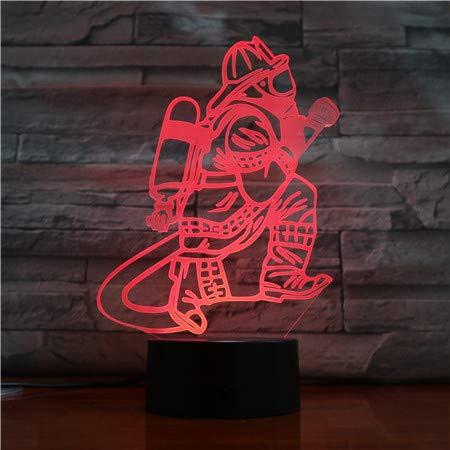 Lampe Illusion 3D,Pompier Veilleuse Lumière De Nuit Led Usb Lampe De Chevet Avec 7 Couleurs Changeables Cadeau Parfait Pour Enfant De L'Emfance Fête Anniversaire De Noë