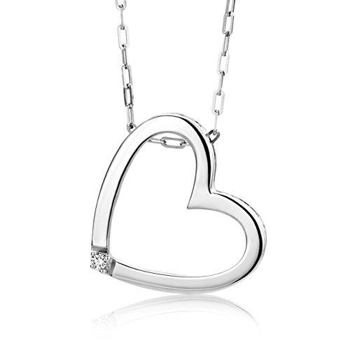 Miore Kette Damen 0.01 Ct. Diamant Halskette mit Anhänger Herz aus 925 Sterling Silber, Halsschmuck mit Diamant Brillant 45cm lang