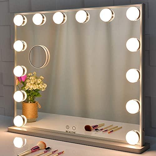 BEAUTME Miroir Lighted Vanity avec 14 Ampoules à LED Lumières Replaceable, Hollywood Style de Maquillage Miroirs cosmétiques avec Touch Control Design, ou Table Murale Miroir vanité (Silver-6251)