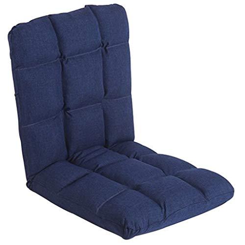 Sofas Bodensitz Lazy Couch Schlafzimmer Balkon Tatami Wohnzimmer Zurück Klappstuhl Raumhohe Fenster Stuhl Tragfähigkeit 80kg (Color : Navy, Size : 56 * 55 * 52cm)
