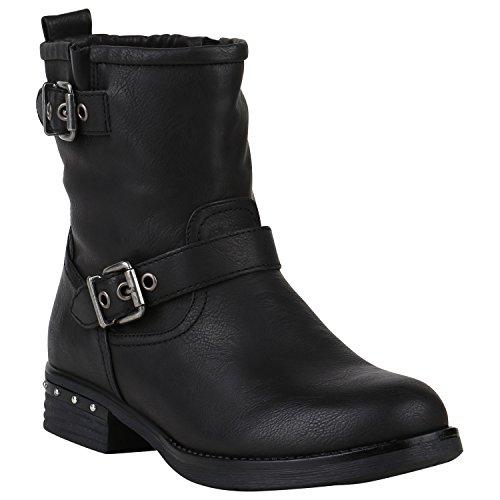 Damen Biker Boots Stiefeletten Stiefel Schnallen Leicht Gefüttert Schuhe 150177 Schwarz Schnallen Nieten 37 Flandell