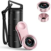 Criacr Phone Camera Lens, 3 in 1 Cell Phone Lens Kit for iPhone, Samsung, 180°Fisheye Lens, 0.6X Wide Angle Lens, 15X Macro Lens, for iPhone 7 Plus, 8, and Most Smartphones(Rose Gold)