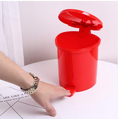 xmwm Strawberry Pink Red Mini Trash Bins Small Office Kitchen Table Cute Plastic Waste Basket Bin