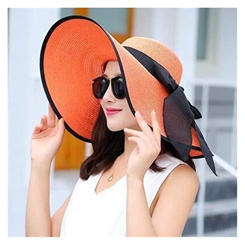 Sombrero de playa Verano mujer sol sombreros visera sombrero gran ala cáscara clásico bowknot plegable paja sombrero casual al aire libre playa gorra para las mujeres gorro de protección UV Proteccion