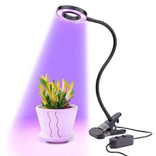 Pflanzenlampe 10W Pflanzenlicht Wachstumslampe LONGKO 3 Modi mit 360° Flexiblem Schwanenhals für Zimmerpflanzen Gewächshaus Garten
