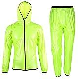 Rehomy Chubasquero Unisex con Pantalones para Hombres y Mujeres Impermeables para Ciclismo Trajes de Lluvia con Dos Bolsas de Almacenamiento