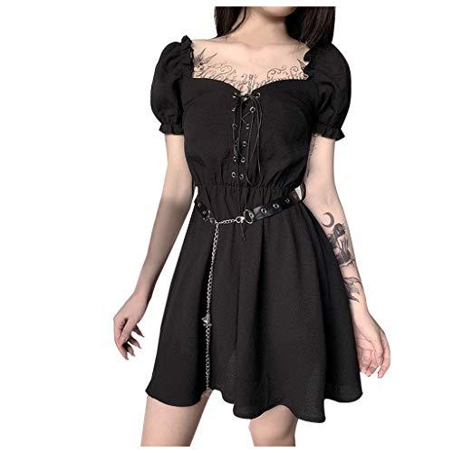 NHNKB Lolita - Vestido de Halloween para mujer, estilo gótico, mini vestido tirolés, vestido lolita, disfraz para mujer, niña, vestido negro, talla L