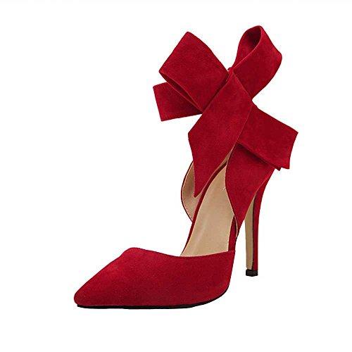 UFACE GroßE High Heels Schuhe Aus Wildleder Mit Wildlederimitat Frauen Pumps Einem GroßEn Bogen Fliege Scharfen Zehe Stilettos Plus Size (35, Rot)