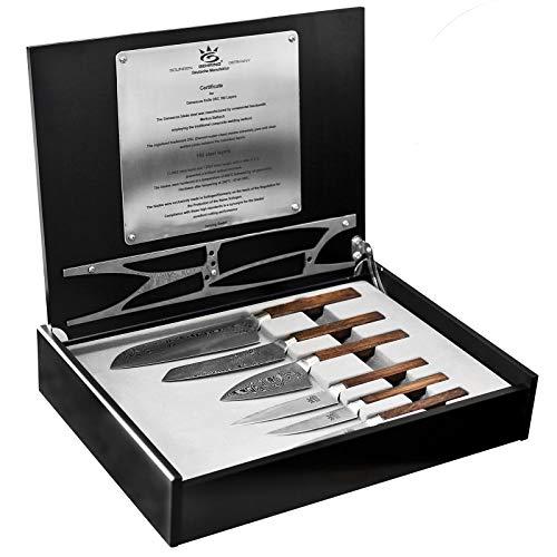 Gehring hochwertiges Damastmesser Profi Messerset in Box 6 teilig - Holzgriff - 160 Lagen - Made in Germany - Solingen