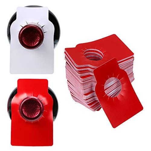 IGNPION wiederverwendbare Weinflaschenanhänger für Weinregale und Keller, zum Organisieren von Hängeetiketten, 200 Stück Weiß/Rot