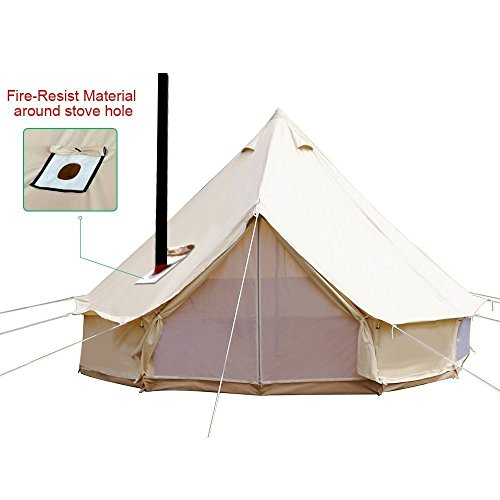 TentHome 4-Season Bell Tent Glamping Waterproof Cotton with Roof Stove Jack Hole for Camping Hiking Christmas Party Beige (tent with Roof Stove Jack Hole, 3M/9.8ft)