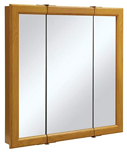 Design House 545301 Claremont Tri-View Solid Wood Mirrored Medicine Cabinet, Honey Oak, -