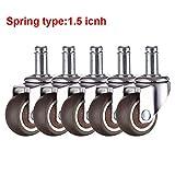 ruedas 5pcs / ruedas sillas de ruedas ruedas de oficina Lote substituto suave goma TPE 1.5/2 pulgadas para muebles,Spring Tipo de 1.5 pulgadas