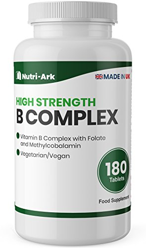 High Strength Vitamin B Complex, 180 Tablets, with Methylcobalamin 100mcg and Folic Acid as Folate 200mcg, Suitable for Vegetarians & Vegans